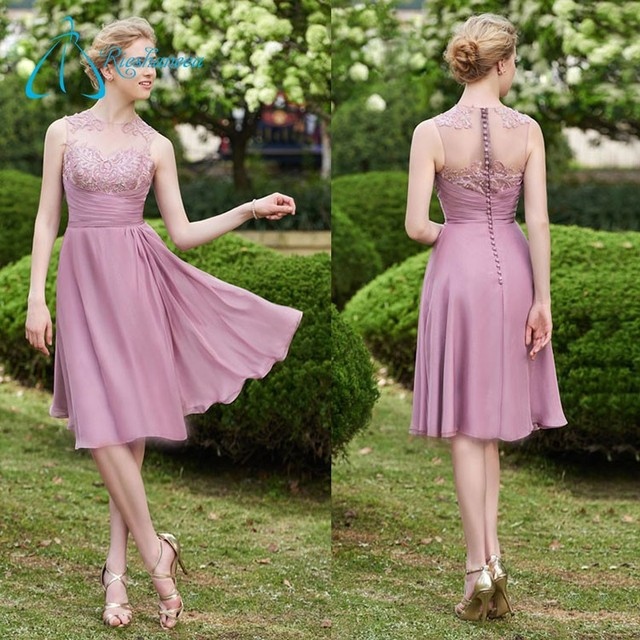 Sheath Jewel Knee Length 2017 Lace Appliques Western Bridesmaid Dresses