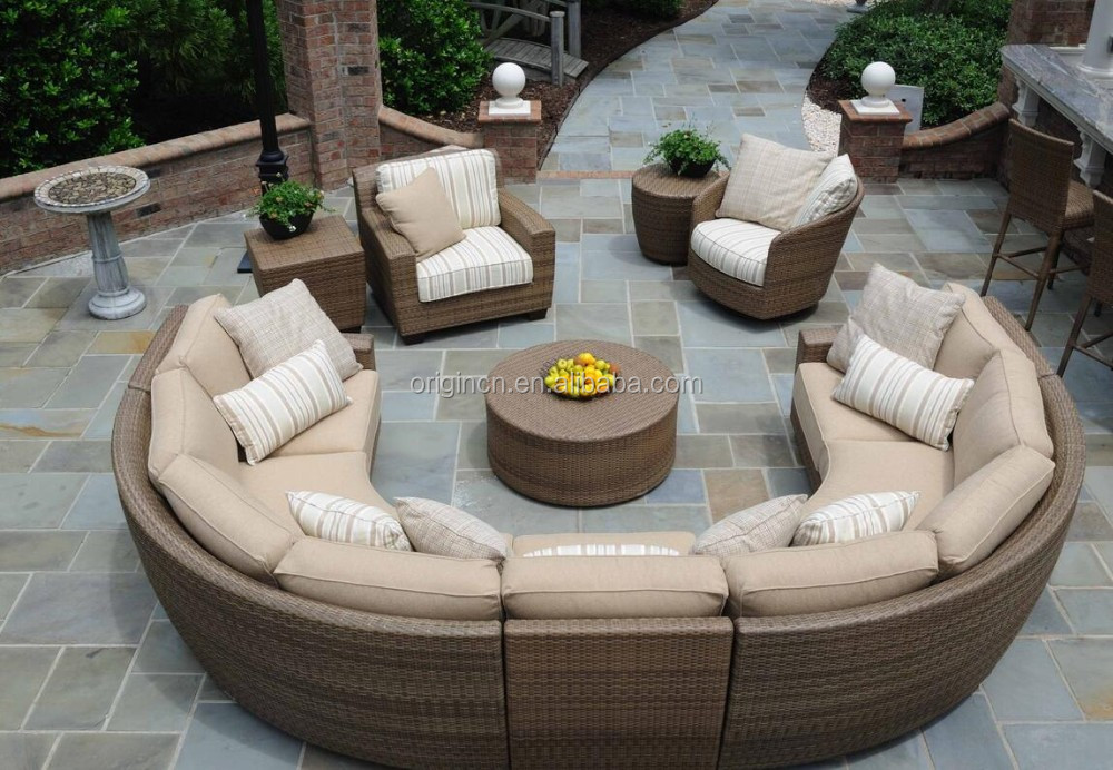 11 Seater Curved Rattan Sofa Set With Lounge Chair Sectional Wicker Semi Circ