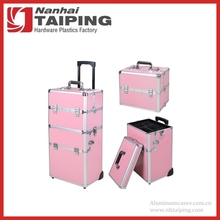 Pink 2in1 Aluminum Rolling Makeup Train Case Lockable Wheeled Cosmetic Box
