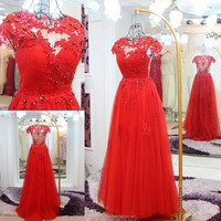 RP50055 Stones sheer v neck cap sleeve evening prom dress lace evening dresses made in china hot red lace long evening dress