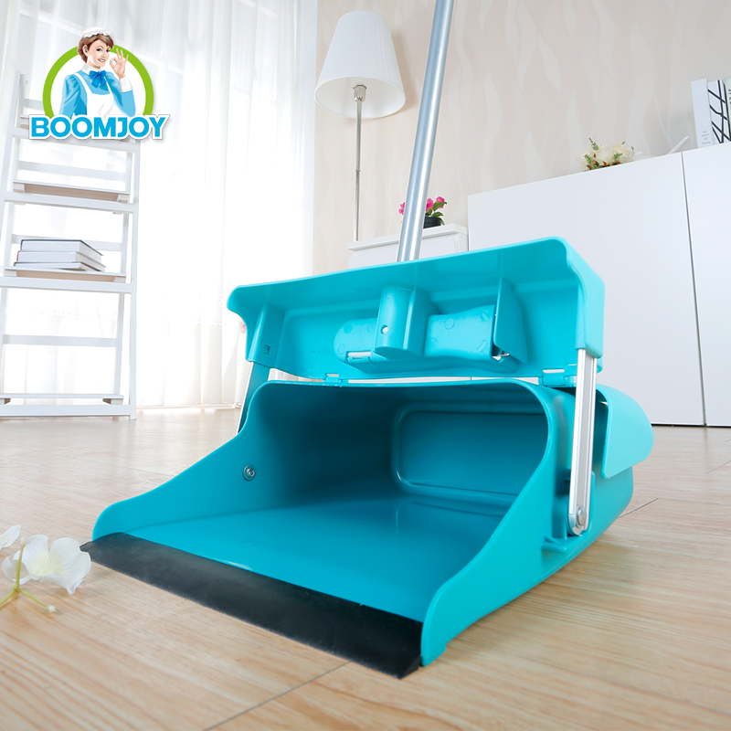 Boomjooy windproof floor cleaning folding broom and dustpan set for indoor or outdoor cleaning.
