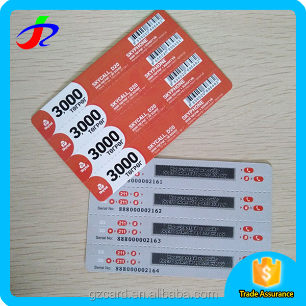 wholesale paper pvc plastic tele calling scratch off card printing price