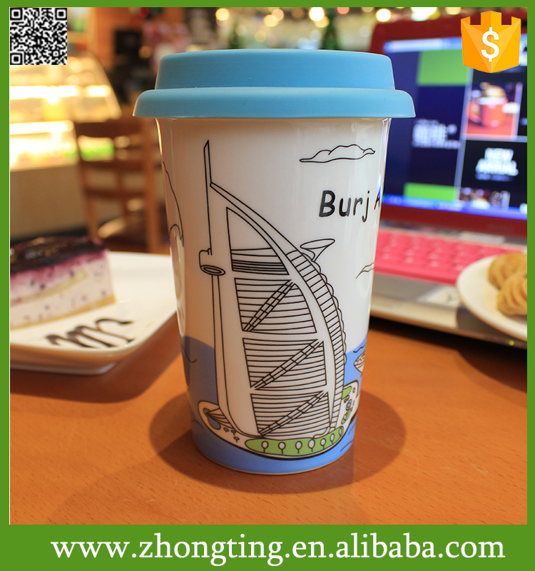 personalised gift cups wholesale ceramic custom ceramic coffee mug with silicone lid