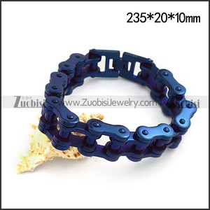 Blue Plating Stainless Steel Bicycle Chain Bracelet for Bikers