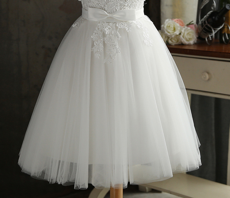 JS 24 Low Moq White Wedding Gowns Lace Chiffon Sister Bridesmaid Dresses Short 036