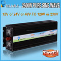 2014 HOT High Quality 2500W 12V/24V/48V DC To 120V/220V AC Pure Sine Wave Power DC To AC LED Display Inverter hot sale