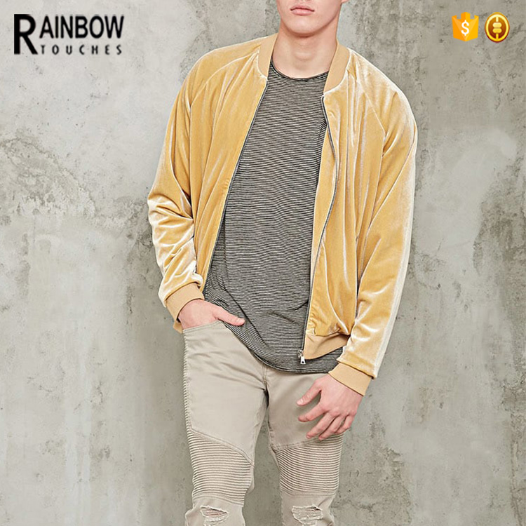 Wholesale New Style And Zip Opening Mens Fit Velvet Bomber Jacket