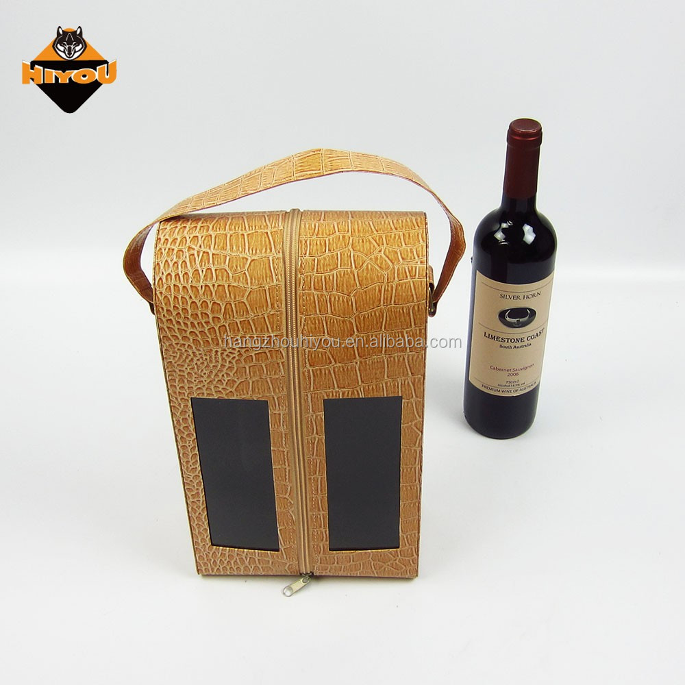 BSCI manufacturer customized brown faux leather wine bottle holder