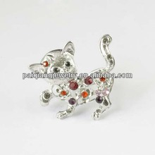 Fashion antique cat shape ring with crystal
