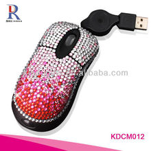 Handmade Bling Rhinestone Crystal Diamond Computer Retractable Mouse