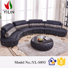 Black Diamond-Inlaid Europe Big Lots Half Moon Leather Sectional Sofa