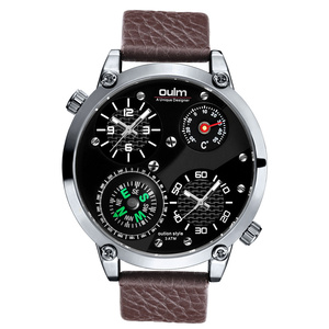 Oulm New Sports Watches Men Luxury Brand Decorative Compass and Thermometer Genuine Leather Strap Watch Male Military Clock