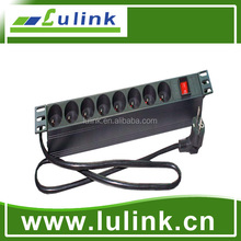 VDE 19 inches, 1U, 6/8 ports, French type, Power Distribution Unit (PDU)