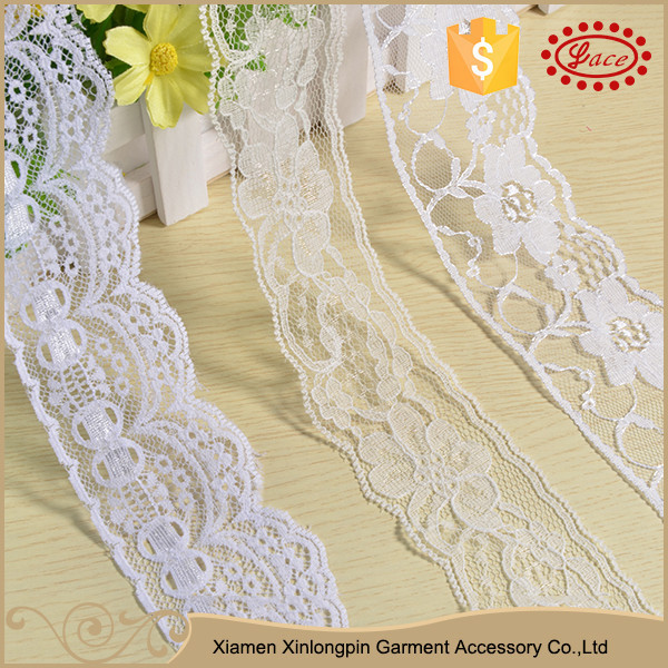 Italian style white flower embroidery lace trims for baby socks