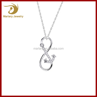 Custom Design for Women Stainless Steel CZ Personalized Anchor Infinity Necklace Best Gifts for Girls