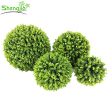 Fire resistant garden decor plastic artificial boxwood plant ball