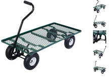 Wagon Garden Cart Nursery Steel Mesh Deck Trailer Heavy Duty Cart Yard Gardening