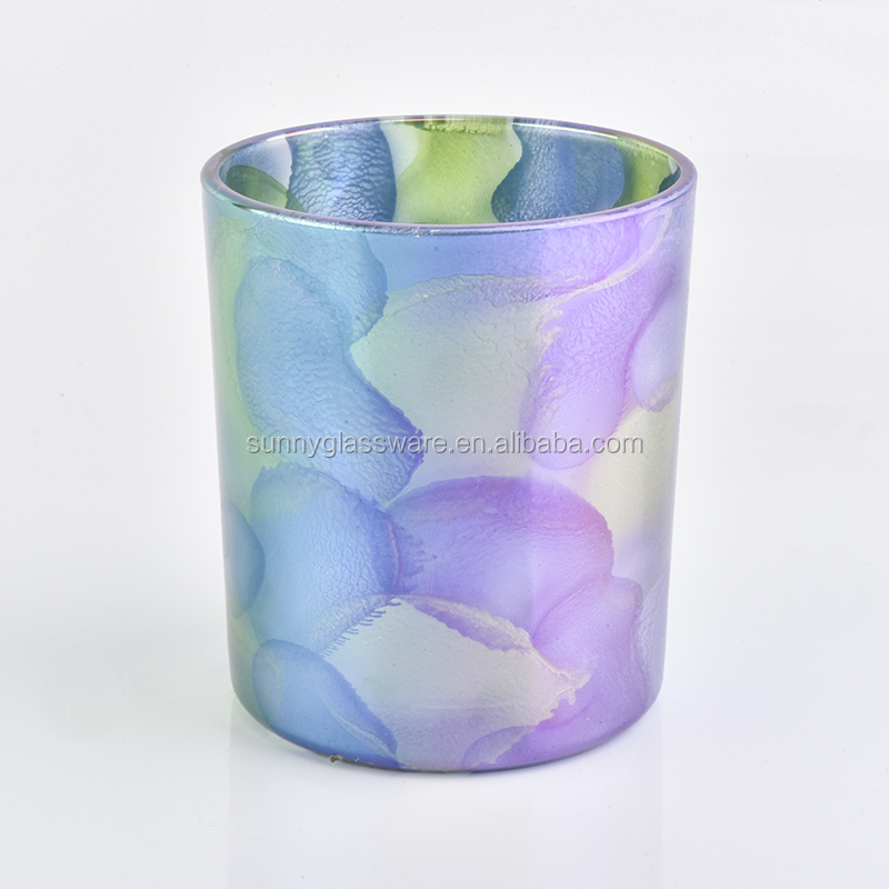 Colorful Glass Candle Jar for Home Decor
