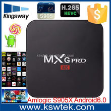 2017 kodi 16.1 andriod 6.0 best tv box android MXG pro 4k android box android tv box manufacturer