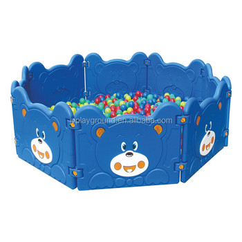 easy assemble low price indoor playground equipment with ball pool kids blue bear plastic fence