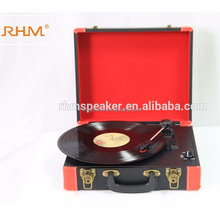 RHM New Design Nostalgic Portable suitcase Wooden Bluetooth turntable record player