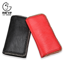 Latest design ladies wallet wholesale customized women chain strap leather purse