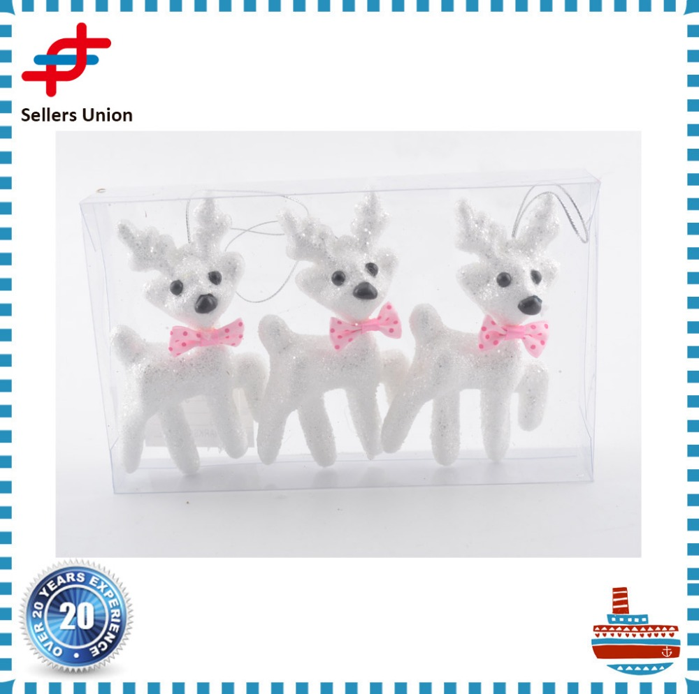 3pcs Christmas decorations white foam Xmas ornaments elk deer and bear ornaments Christmas tree decorations