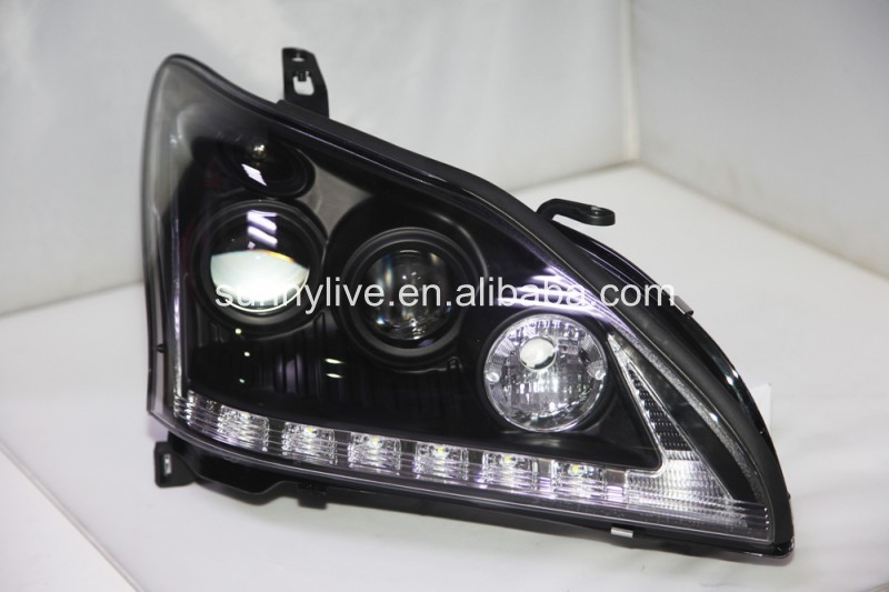 2004-2009 Year Lexus RX330 RX350 LED Headlights Head Lamps Black Housing SN