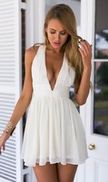 wholesale clothing crisscross back zipped sexy chiffon dress