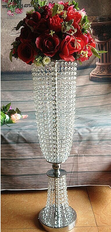 New products 2016 elegant crystal flower stand for wedding table centerpieces