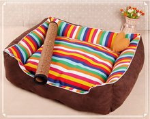 luxury rainbow color stripe dog bed Washable non slip pet beds for dog