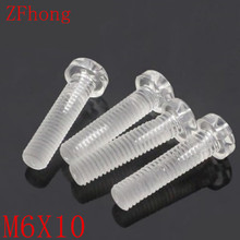 1000pcs/<strong>bag</strong> M6*10 M6x10 Transparent Acrylic Phillips Pan head PC screw