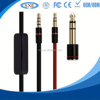 2015 Factory hot sell 3.5 mm stereo mini jacket y splitter earphone microphone audio cable