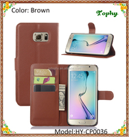 Wholesale Brown PU + PC Litchi Pattern Wallet Card Flip Cover Holster Phone Shell For Samsung Galaxy S6 Edge Plus