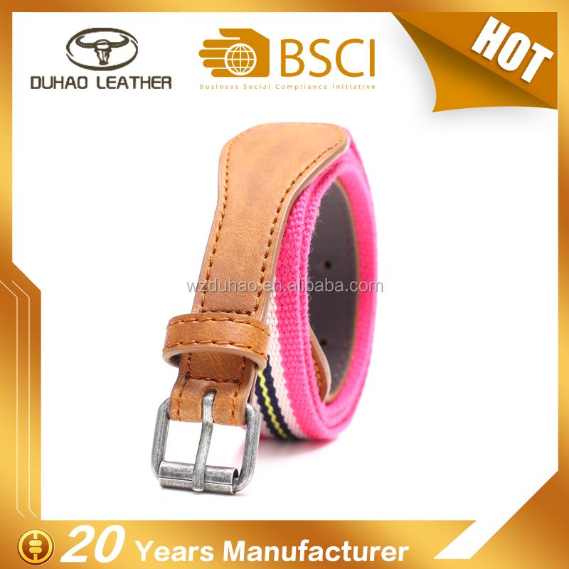 Women's pu leather woven polyester pin buckle belt