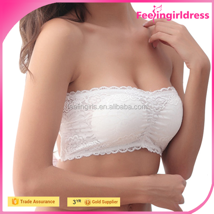 Sexy Lady White Lace Bra Bustier Padded Tank Camisole Plain Crop Tops Wholesale