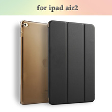 Clear hard case transparent Folding Smart flip Cover pu Leather tablet pc case for Ipad air2/Ipad 6