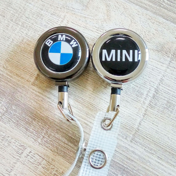 promotional metal small Metal badge reel for key holder