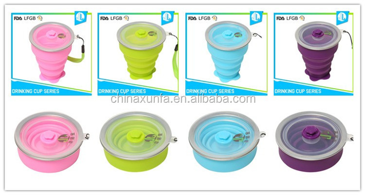 Cheap portable bulk sale silicone collapsable cup