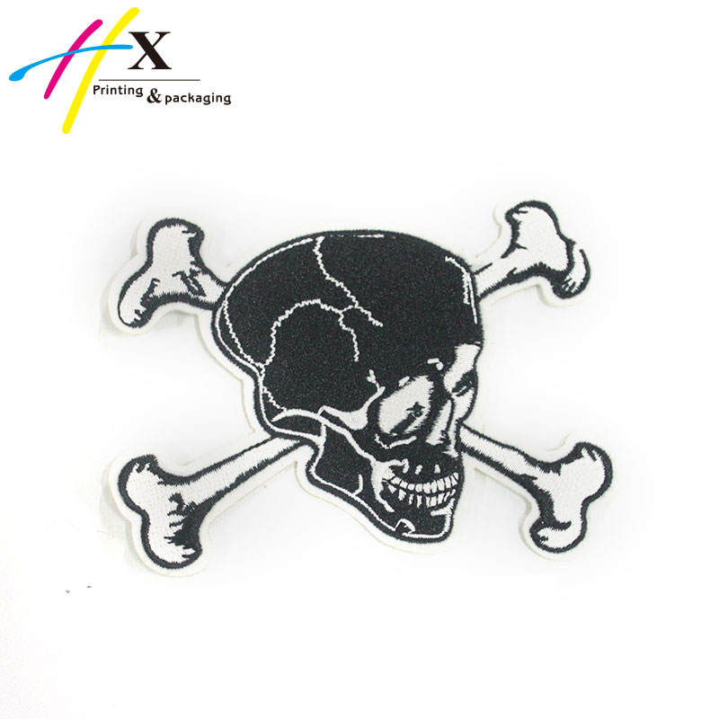Custom Embroidered Heat Press Iron On Skull PVC Patch For Clothing