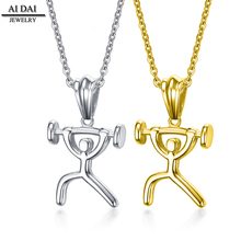 Custom 316L Stainless steel Inspirational Hip Hop Dumbbell Pendant Fitness Gym Jewellery Men Necklace