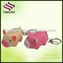 Led animal keychain light, Pig Keychain with LED and Sound