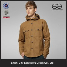 Latest Winter Fashion Hooded Mens Brown Wool Coat Hot Tweed Jacket