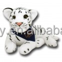 Logo lying stuffed White Tiger plush tiger with black bandana