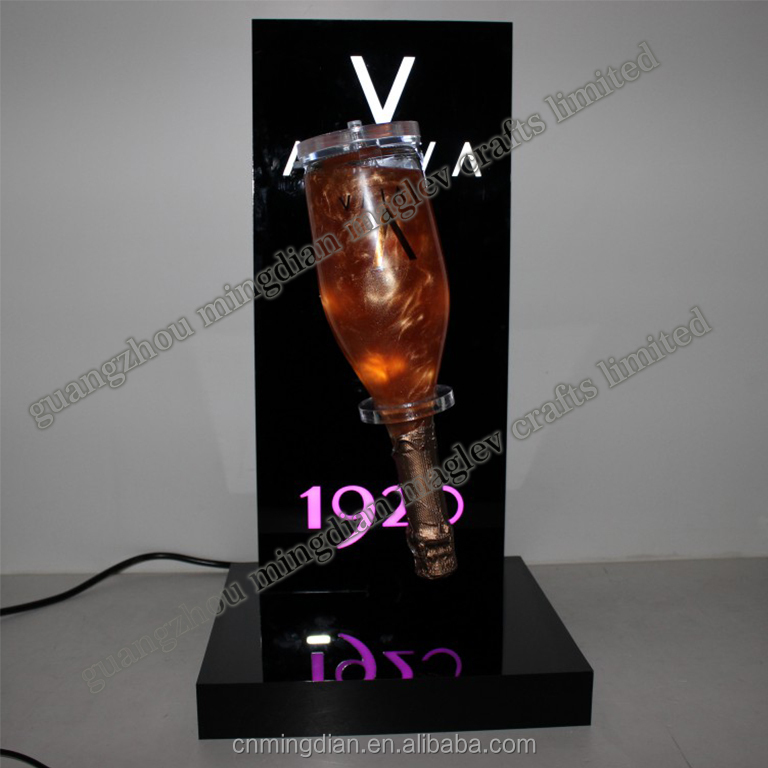 acrylic lighting 360 degree rotating exhibitor for AVIVA sparkling wine display