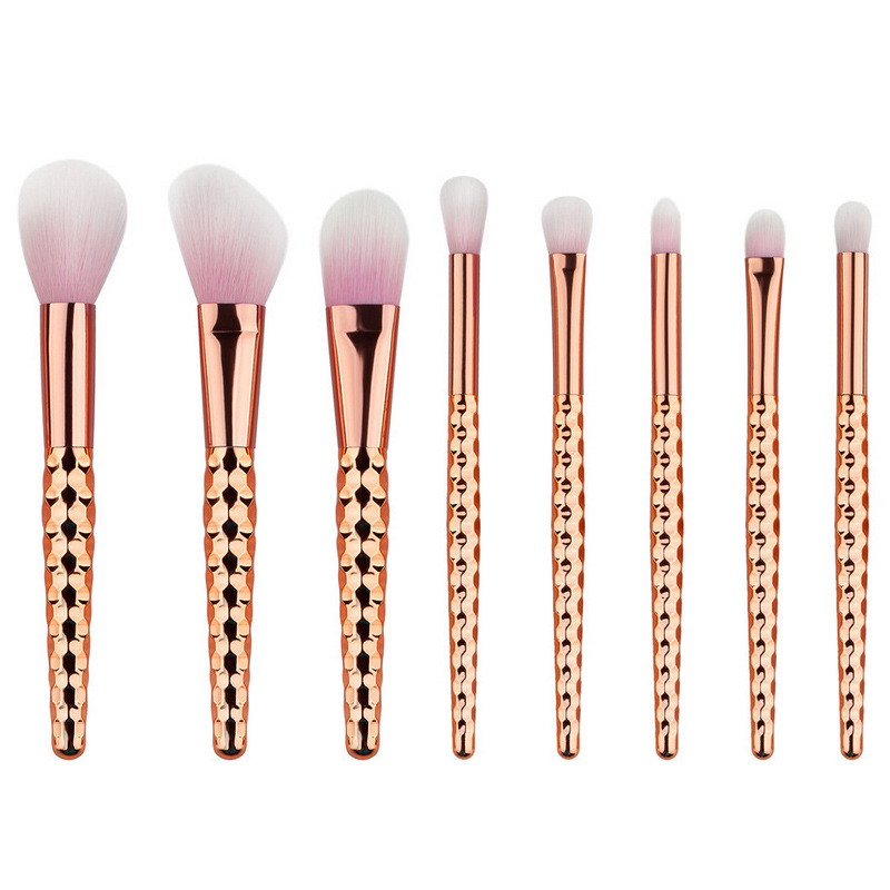 Luxury rose gold 8pcs professional custom logo makeup <strong>brushes</strong> manufacturer