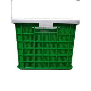 hot sale Plastic mesh crate with lid for seafood lobster crab 65L 60kg load capacity Plastic trays crates and containers