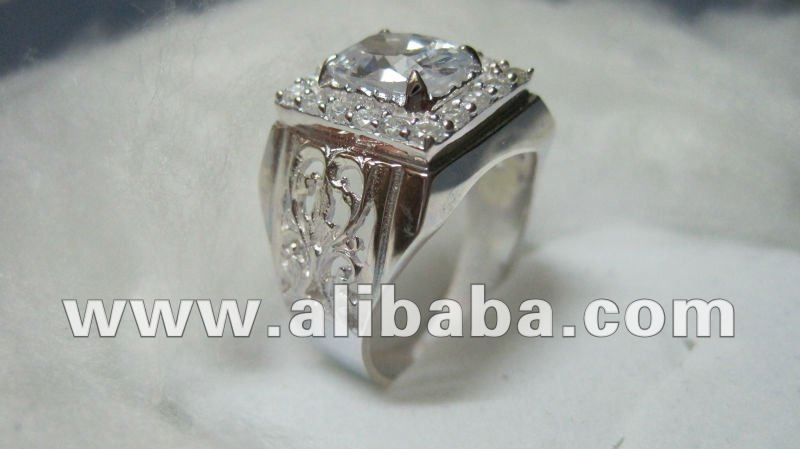 White CZ Sterling Silver Men Ring