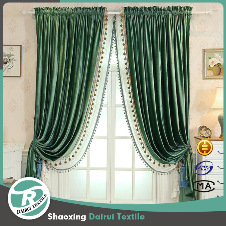 Luxury curtains with attached valance with lace for living room