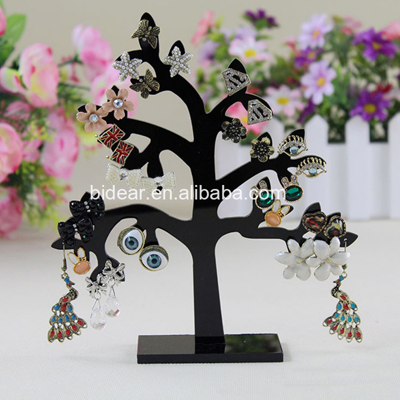 Fancy Acrylic Tree Shaped 32 Holes Jewelry Display Stand Holder Earring Organizer